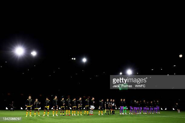 General view as both sides line up ahead of the Carabao Cup Third Round match between Wolverhampton Wanderers and Tottenham Hotspur at Molineux on...