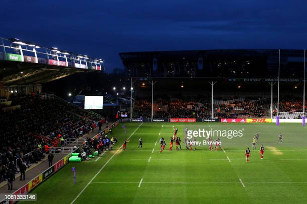 A general view as both teams challenge at the line out during the Challenge Cup match between Harlequins and Grenoble Rugby at Twickenham Stoop on...