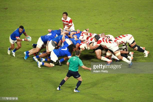 General view as both team's compete in a scrum during the Rugby World Cup 2019 Group A game between Japan and Samoa at City of Toyota Stadium on...