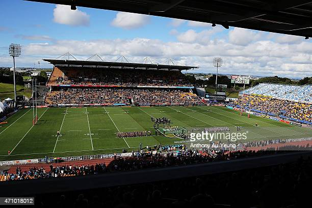 General view as both teams line up for the Last Post prior for Anzac Day prior to the round eight NRL match between the New Zealand Warriors and the...