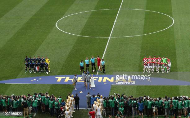 General view as both teams line up for their team photos before the 2018 FIFA World Cup Russia Final between France and Croatia at Luzhniki Stadium...