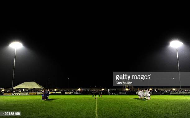 A general view as both teams observe a minutes silence ahead of the FA Cup First Round match between WestonSuperMare and Doncaster Rovers on November...