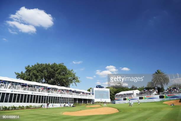 A general view as Branden Grace of South Africa places his ball on the 18th green during day three of the BMW South African Open Championship at...