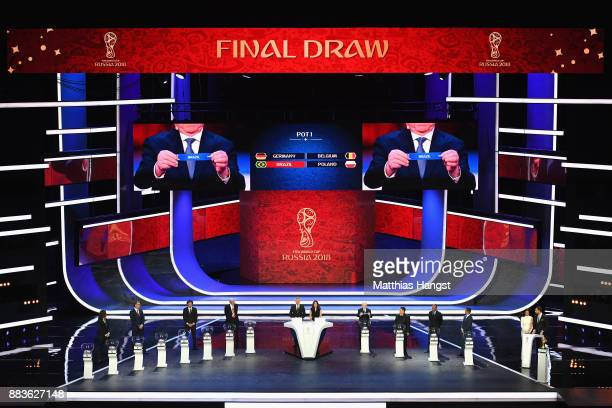 A general view as Brazil is drawn during the Final Draw for the 2018 FIFA World Cup Russia at the State Kremlin Palace on December 1 2017 in Moscow...