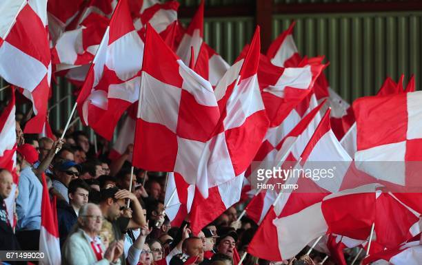 General view as Bristol City fans wave flags during the Sky Bet Championship match between Bristol City and Barnsley at Ashton Gate on April 22 2017...