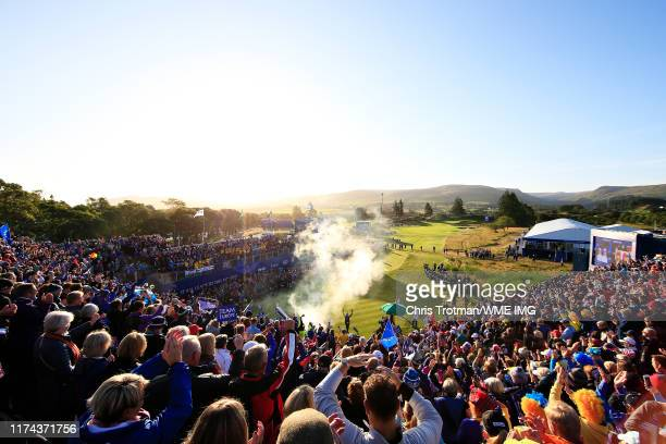 A general view as Bronte Law and Carlota Ciganda both of Team Europe are introduced on the first tee during Day 1 of The Solheim Cup at Gleneagles on...
