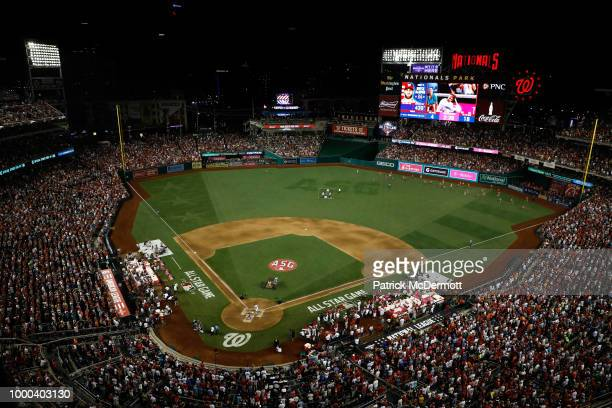 General view as Bryce Harper of the Washington Nationals and National League competes during the T-Mobile Home Run Derby at Nationals Park on July...