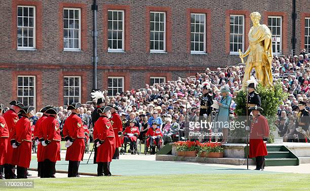 General view as Camilla, Duchess of Cornwall gives a speech as she visits the Royal Hospital Chelsea to review The Founder's Day Parade on June 6,...