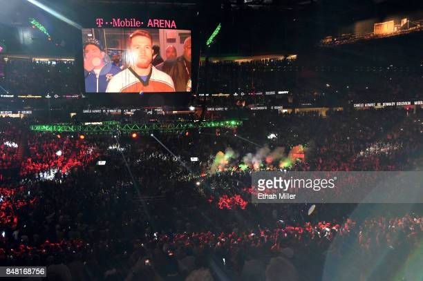 A general view as Canelo Alvarez enters the ring to take on Gennady Golovkin before their WBC WBA and IBF middleweight championship bout at TMobile...