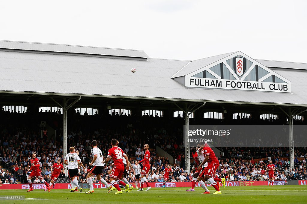 A general view as Cardiff City take a free kick during the Sky Bet Championship match between Fulham and Cardiff City at Craven Cottage on August 30, 2014 in London, England.