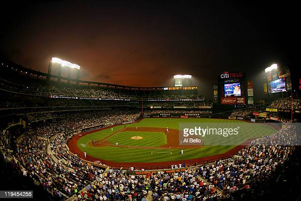 General view as Carlos Beltran of the New York Mets hits a two run home run against Kyle McClellan of the St Louis Cardinals during their game on...