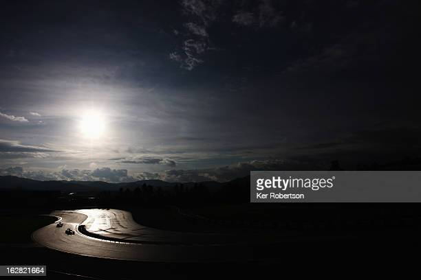 General view as cars hit the track at the start of day one of Formula One winter test at the Circuit de Catalunya on February 28 2013 in Montmelo...