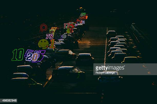 A general view as cars pit during the NASCAR Sprint Cup Series Ford EcoBoost 400 at HomesteadMiami Speedway on November 22 2015 in Homestead Florida