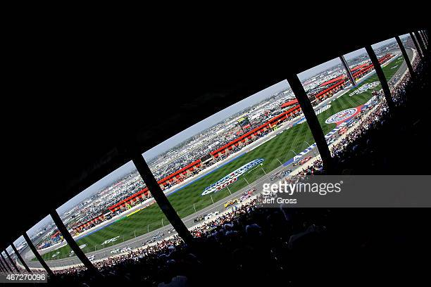 General view as cars race during the NASCAR Sprint Cup Series Auto Club 400 at Auto Club Speedway on March 22, 2015 in Fontana, California.