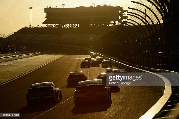 General view as cars race during the NASCAR Sprint Cup Series Ford EcoBoost 400 at Homestead-Miami Speedway on November 22, 2015 in Homestead,...