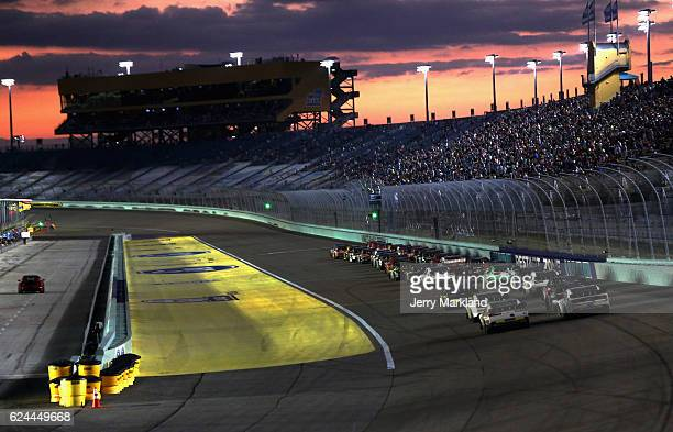 A general view as cars race during the NASCAR XFINITY Series Ford EcoBoost 300 at HomesteadMiami Speedway on November 19 2016 in Homestead Florida