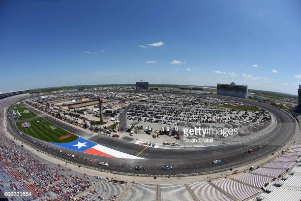 A general view as cars race during the NASCAR XFINITY Series My Bariatric Solutions 300 at Texas Motor Speedway on April 8 2017 in Fort Worth Texas