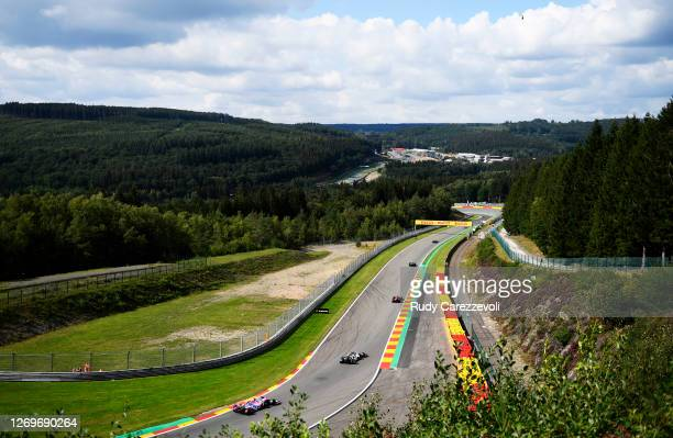 General view as cars race on track during the F1 Grand Prix of Belgium at Circuit de Spa-Francorchamps on August 30, 2020 in Spa, Belgium.