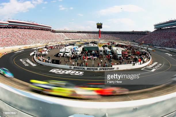 A general view as cars race on track during the NASCAR Busch Series Sharpie Mini 300 at Bristol Motor Speedway on March 24 2007 in Bristol Tennessee