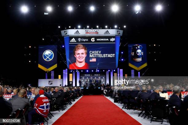 A general view as Casey Mittelstadt is selected eighth overall by the Buffalo Sabres during the 2017 NHL Draft at the United Center on June 23 2017...