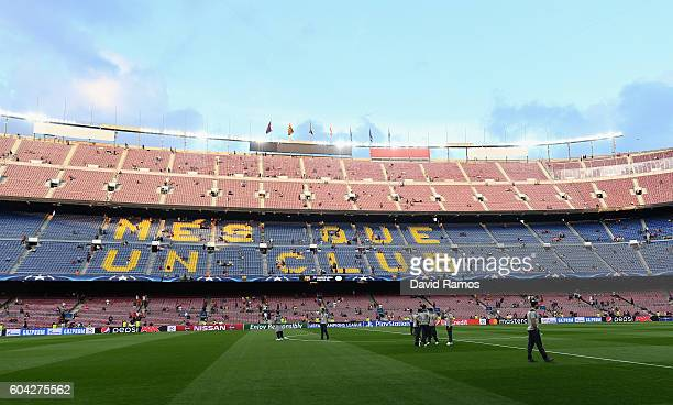 A general view as Celtic players walk on the pitch prior to the UEFA Champions League Group C match between FC Barcelona and Celtic FC at Camp Nou on...