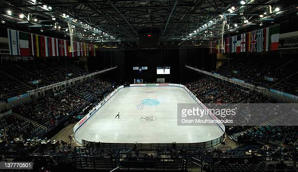 A general view as Chafik Besseghier of France preforms in the Mens Short Program during the ISU European Figure Skating Championships at Motorpoint...