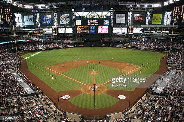General View as Chase Field is full of people during a game between the Arizona Diamondbacks and New York Mets on May 6 2007 at Chase Field in...