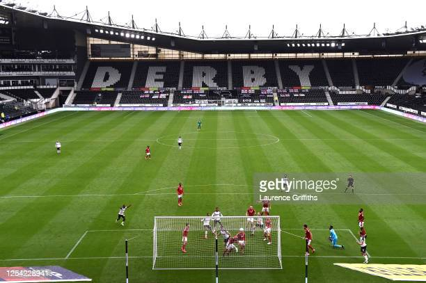 General view as Chris Martin of Derby County scores his sides first goal during the Sky Bet Championship match between Derby County and Nottingham...