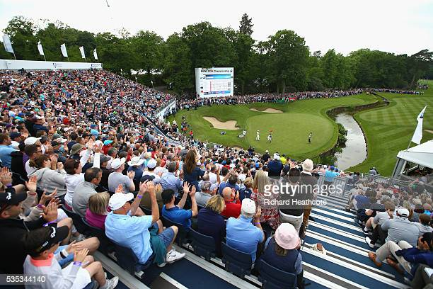 General View as Chris Wood of England celebrates victory on the 18th green during day four of the BMW PGA Championship at Wentworth on May 29, 2016...