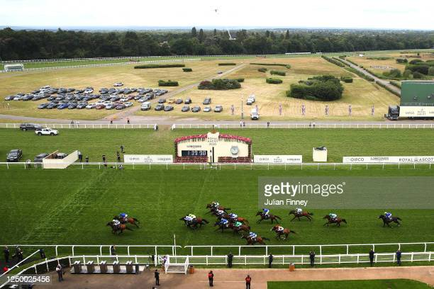 General view as Circus Maximus ridden by Ryan Moore wins the Queen Anne Stakes during Day One of Royal Ascot at Ascot Racecourse on June 16, 2020 in...