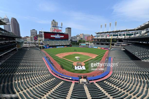 General view as Cleveland Indians players practice on the field during summer workouts at Progressive Field on July 07, 2020 in Cleveland, Ohio.
