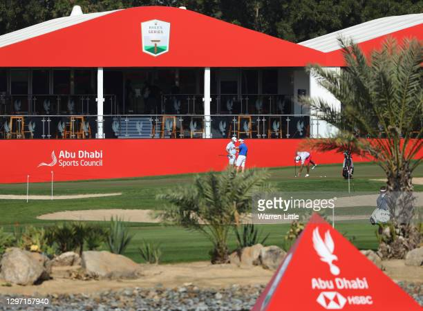 General view as competitors play during practice ahead of the Abu Dhabi HSBC Championship at Abu Dhabi Golf Club on January 19, 2021 in Abu Dhabi,...