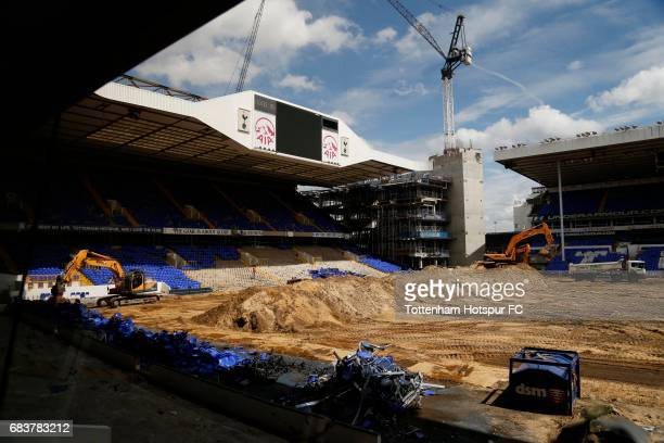 General view as construction work continues at White Hart Lane on May 16 2017 in London England Tottenham will play at Wembley Stadium next season...