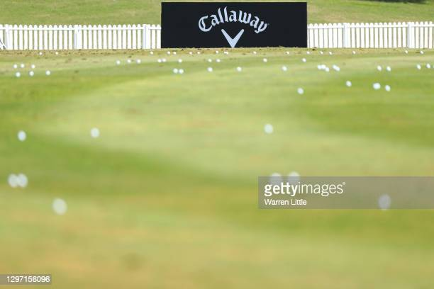 General view as course branding is seen during practice ahead of the Abu Dhabi HSBC Championship at Abu Dhabi Golf Club on January 19, 2021 in Abu...