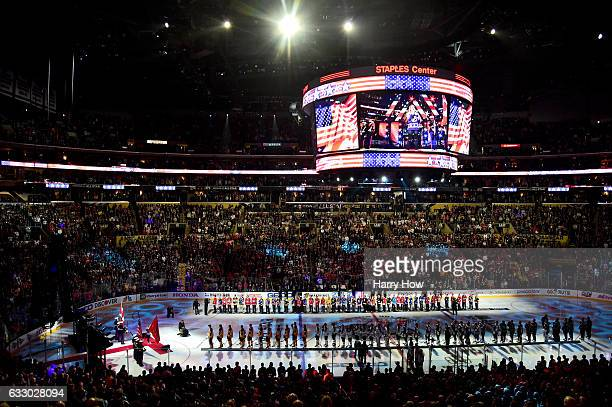 A general view as Courtney Daniels performs the national anthem prior to the 2017 Honda NHL AllStar Game Semifinal at Staples Center on January 29...