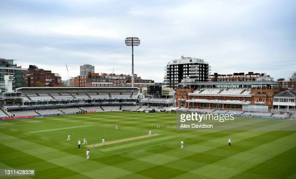 General view as Craig Overton of Somerset bowls the first ball of the season to Sam Robson of Middlesex during Day One of the LV= Insurance County...