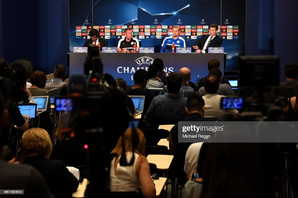 A general view as Craig Shakespeare and Kasper Schmiechel speak during a Leicester City press conference ahead of their UEFA Champions League Quarter-Final match against Atletico Madrid at Vicente Calderon Stadium on April 11, 2017 in Madrid, Spain.