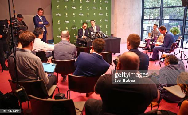 A general view as Cricket Australia CEO James Sutherland and Justin Langer coach of Australia speak to the media during a press conference on May 3...