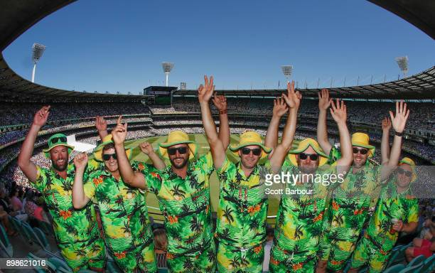 A general view as cricket fans in the crowd enjoy the atmosphere on Boxing Day during day one of the Fourth Test Match in the 2017/18 Ashes series...