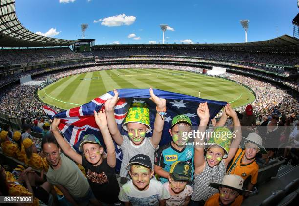 General view as cricket fans in the crowd enjoy the atmosphere on Boxing Day during day one of the Fourth Test Match in the 2017/18 Ashes series...