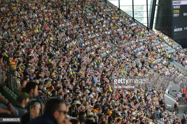 General view as cricket fans in the crowd of 88,172 enjoy the atmosphere on Boxing Day during day one of the Fourth Test Match in the 2017/18 Ashes...
