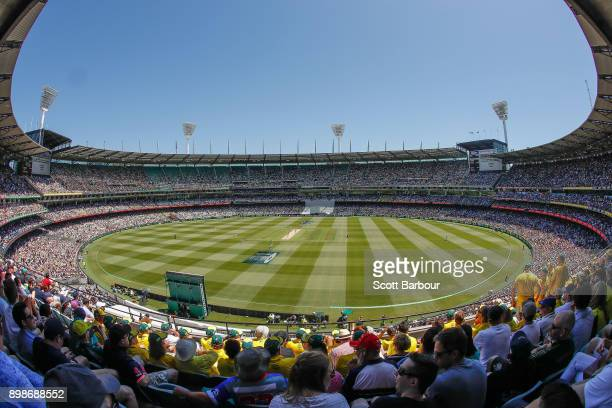 A general view as cricket fans in the crowd of 88172 enjoy the atmosphere on Boxing Day during day one of the Fourth Test Match in the 2017/18 Ashes...