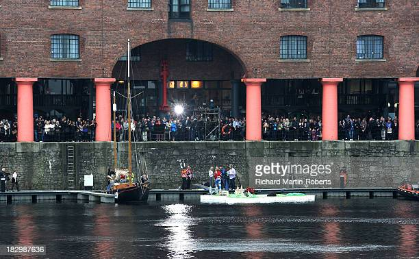 General View as crowds gather to watch Keith Lemon and the floating weather map as This Morning celebrates 25 years on air at Albert Dock on October...