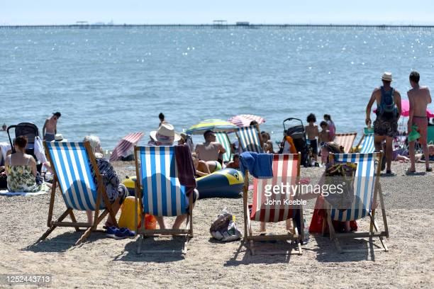 General view as crowds of people gather on the beach on June 25, 2020 in Southend-on-Sea, England. The UK is experiencing a summer heatwave, with...