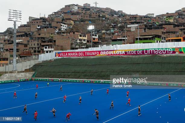 A general view as Cuba and Canada compete in the women's hockey preliminaries pool WA at Hockey Field of Complejo Deportivo Villa Maria del Triunfo...