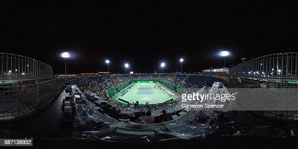 A general view as Czech Republic players Lucie Safarova and Barbora Strycova play their Women's first round doubles tennis match against United...