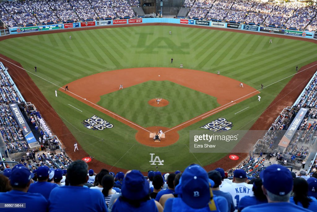 A general view as Dallas Keuchel #60 of the Houston Astros throws a pitch during the first inning against the Los Angeles Dodgers in game one of the 2017 World Series at Dodger Stadium on October 24, 2017 in Los Angeles, California.