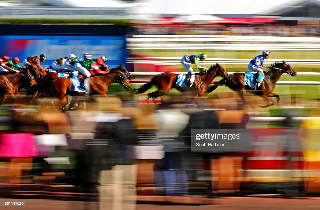 A general view as Damian Lane riding Tosen Stardom wins race 9 the United Petroleum Toorak Handicap during Melbourne Racing on Caulfield Guineas Day at Caulfield Racecourse on October 14, 2017 in Melbourne, Australia.