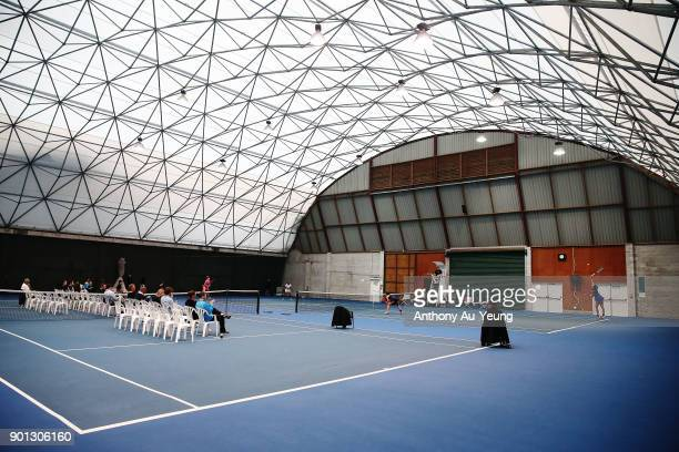 General view as Darija Jurak of Croatia and Nao Hibino of Japan play in their doubles match against Magdalena Frech of Poland and Prarthana Thombare...