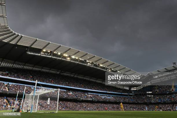 A general view as dark clouds descend during the Premier League match between Manchester City and Fulham at the Etihad Stadium on September 15 2018...